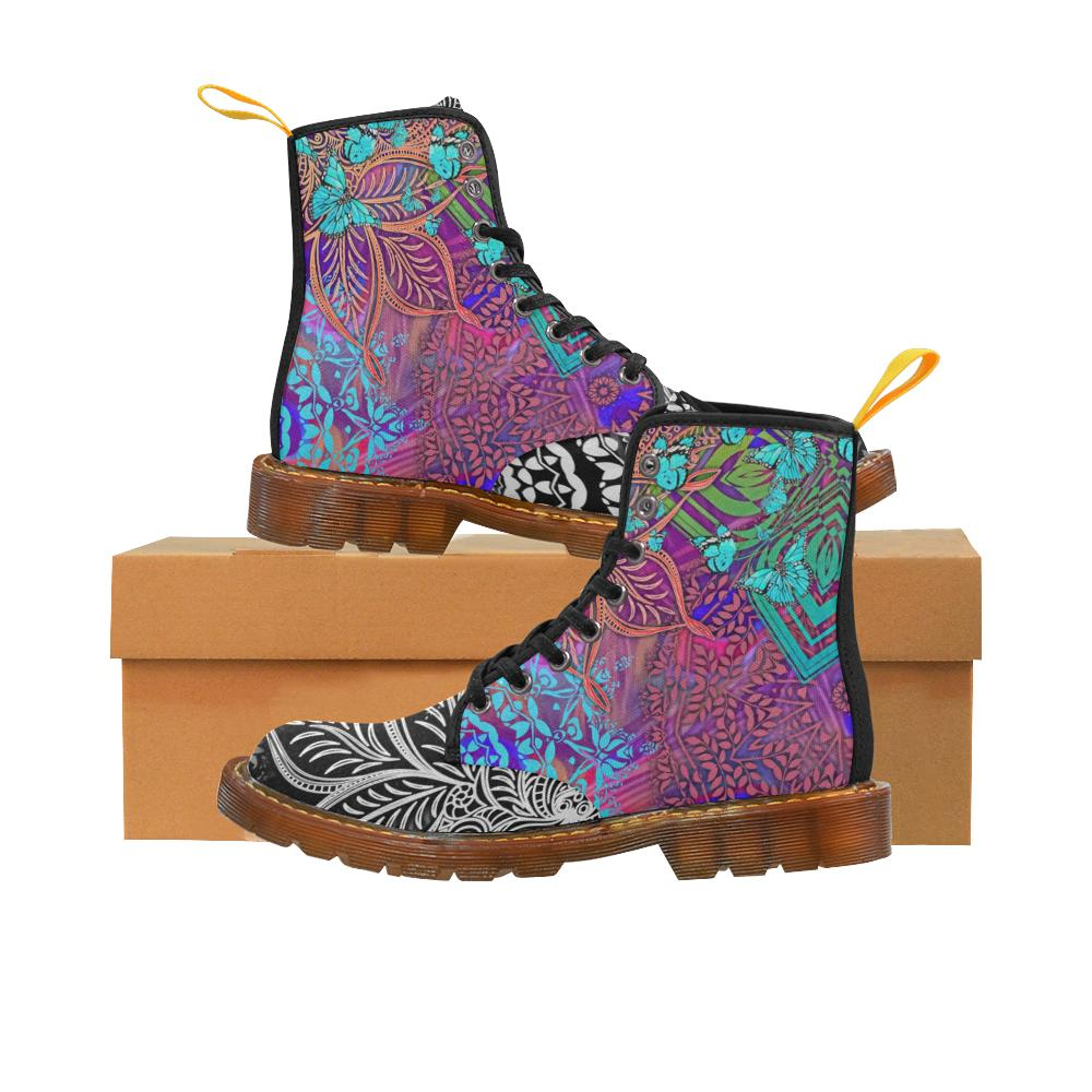 Sacred Geometry Multi-colored Butterfly Lace Up Canvas Boots - Maui Woke