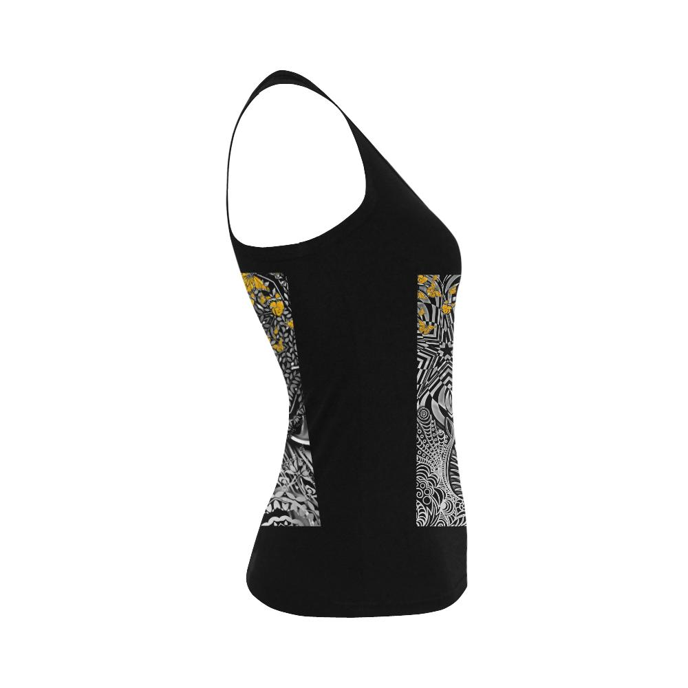 Sacred Geometry Yellow Butterflies Shoulder-Free Tank Top - Maui Woke