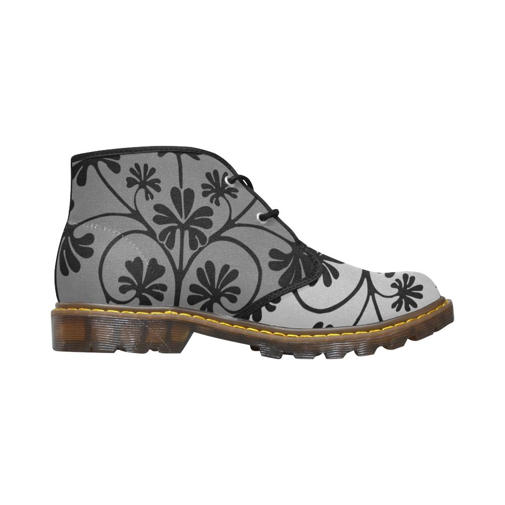 Grey Funky Flower Canvas Chukka Boots - Maui Woke