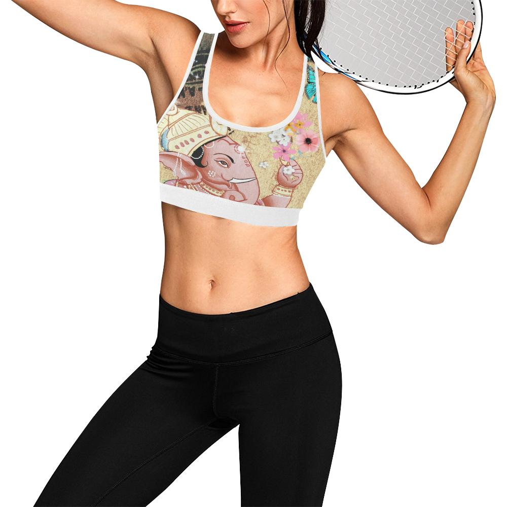 Light Pink Ganesha White Trim Sports Bra - Maui Woke