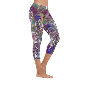 Peacock Multi-colored Low Rise Capri Leggings - Maui Woke