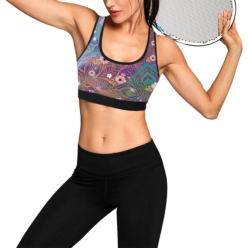 Sacred Geometry Purple Black Trim Sports Bra - Maui Woke
