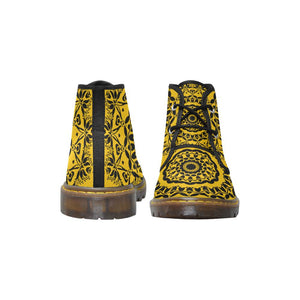 Sacred Geometry Yellow Canvas Chukka Boots - Maui Woke