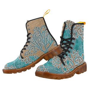 Boho Blue Women's Lace Up Canvas Boots-SHD|Maui Woke, Bohemian design - Maui Woke