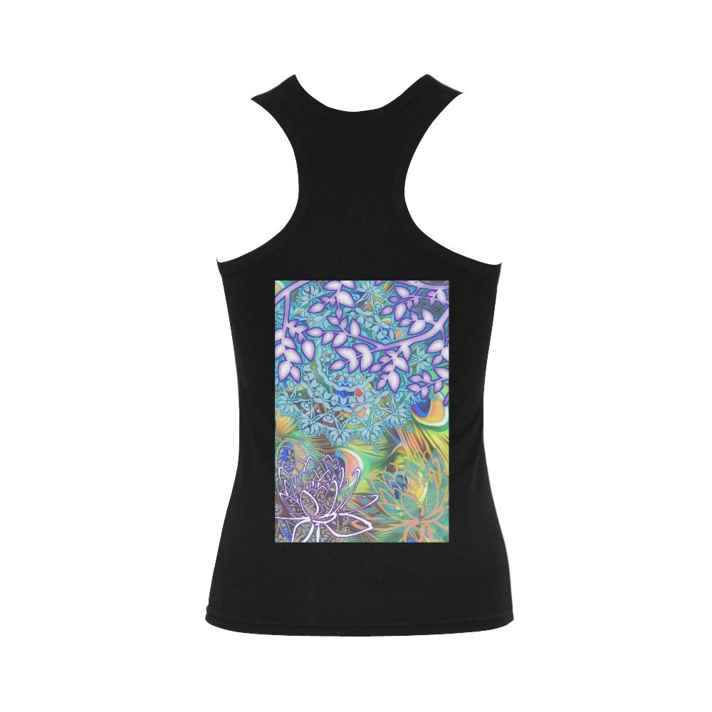 Lotus Women's Shoulder-Free Tank Top (Model T35), Tank Tops - Maui Woke