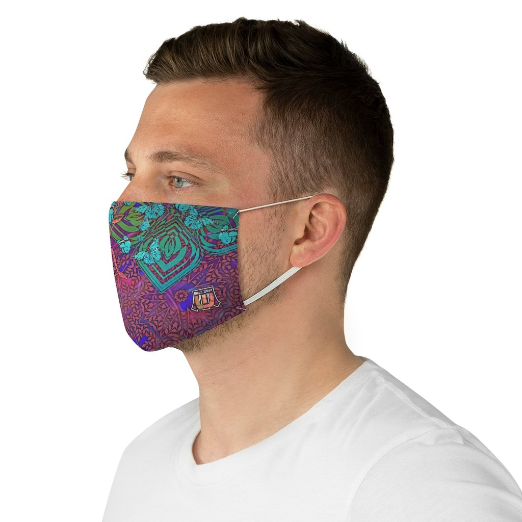 male side Sacred Geometry Inspired-Colorful Butterfly Fabric Face Mask