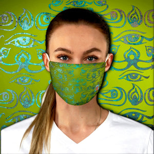 Colorful 3rd Eye • Green Fabric Face Mask - Maui Woke