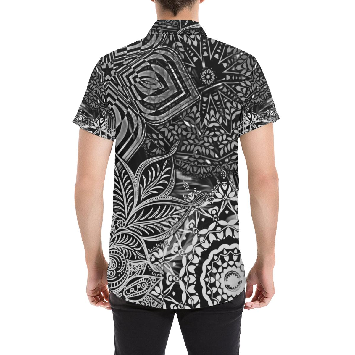 Sacred Geometry Black/White All Over Print Shirt - Maui Woke