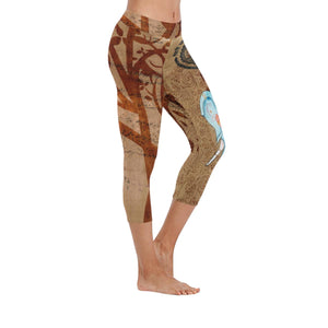 Brown Ganesha Yoga Low Rise Capri Leggings - Maui Woke