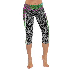 Sacred Geometry Green Low Rise Capri Leggings-Scott Hernandez Designs|Maui Woke