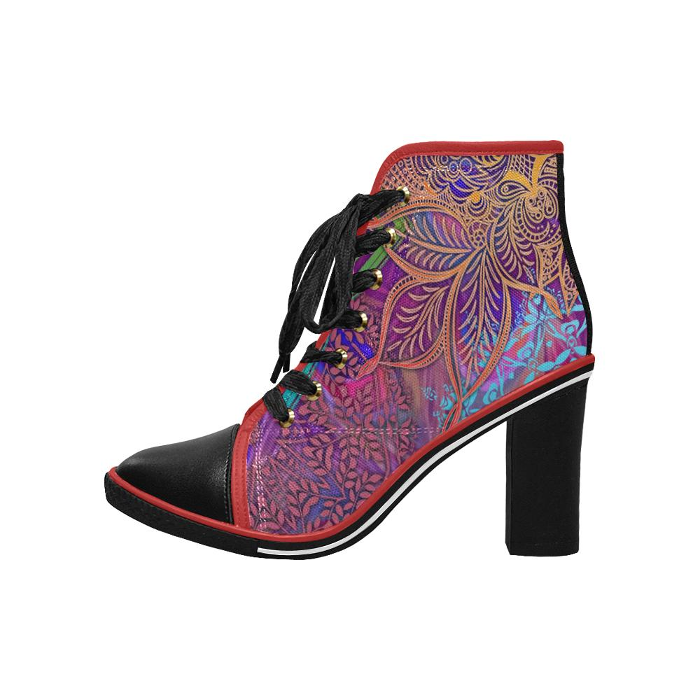 Sacred Geometry Multi Colored Chunky Heel Ankle Boots - Maui Woke