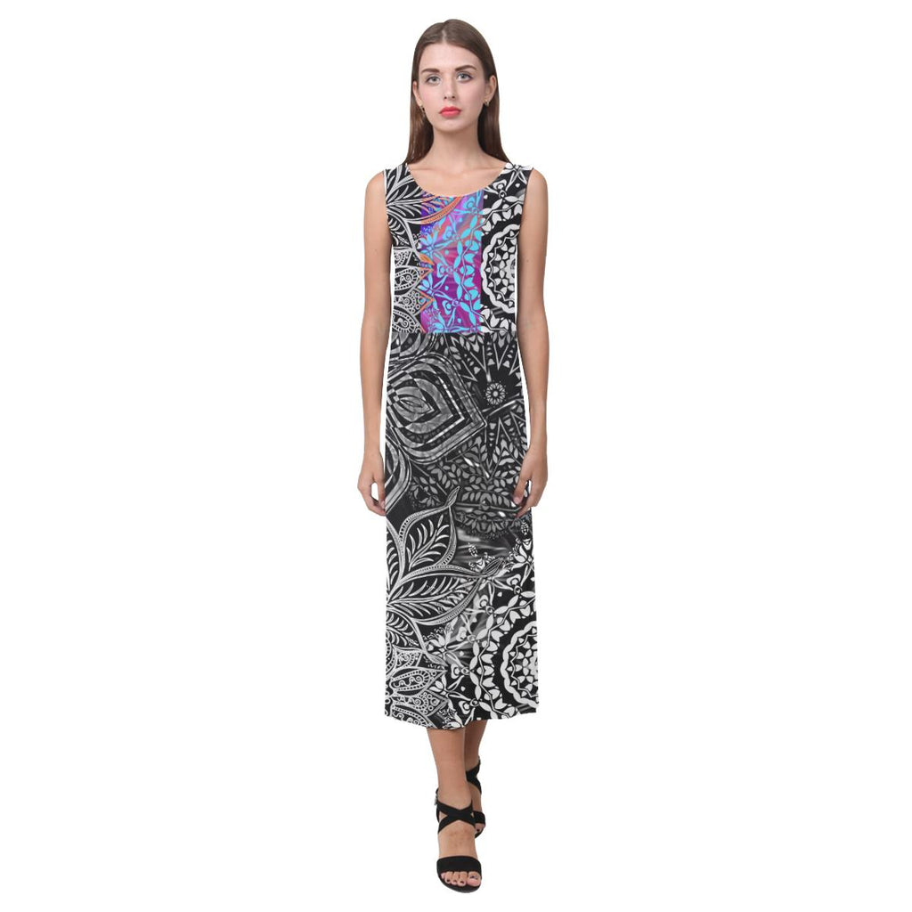 Sacred Geometry Multi Color Sleeveless Open Fork Long Dress - Maui Woke