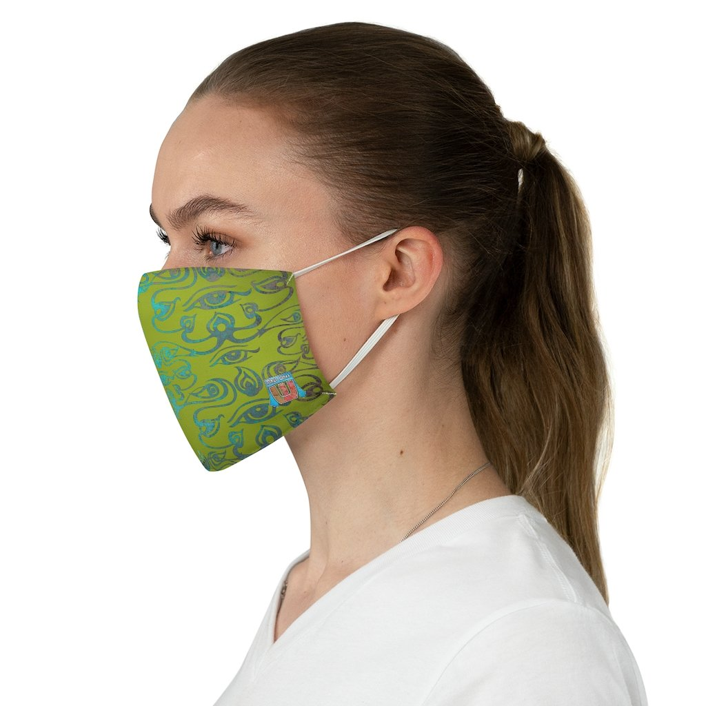 side view 3rd Eye -Green Fabric Face Mask