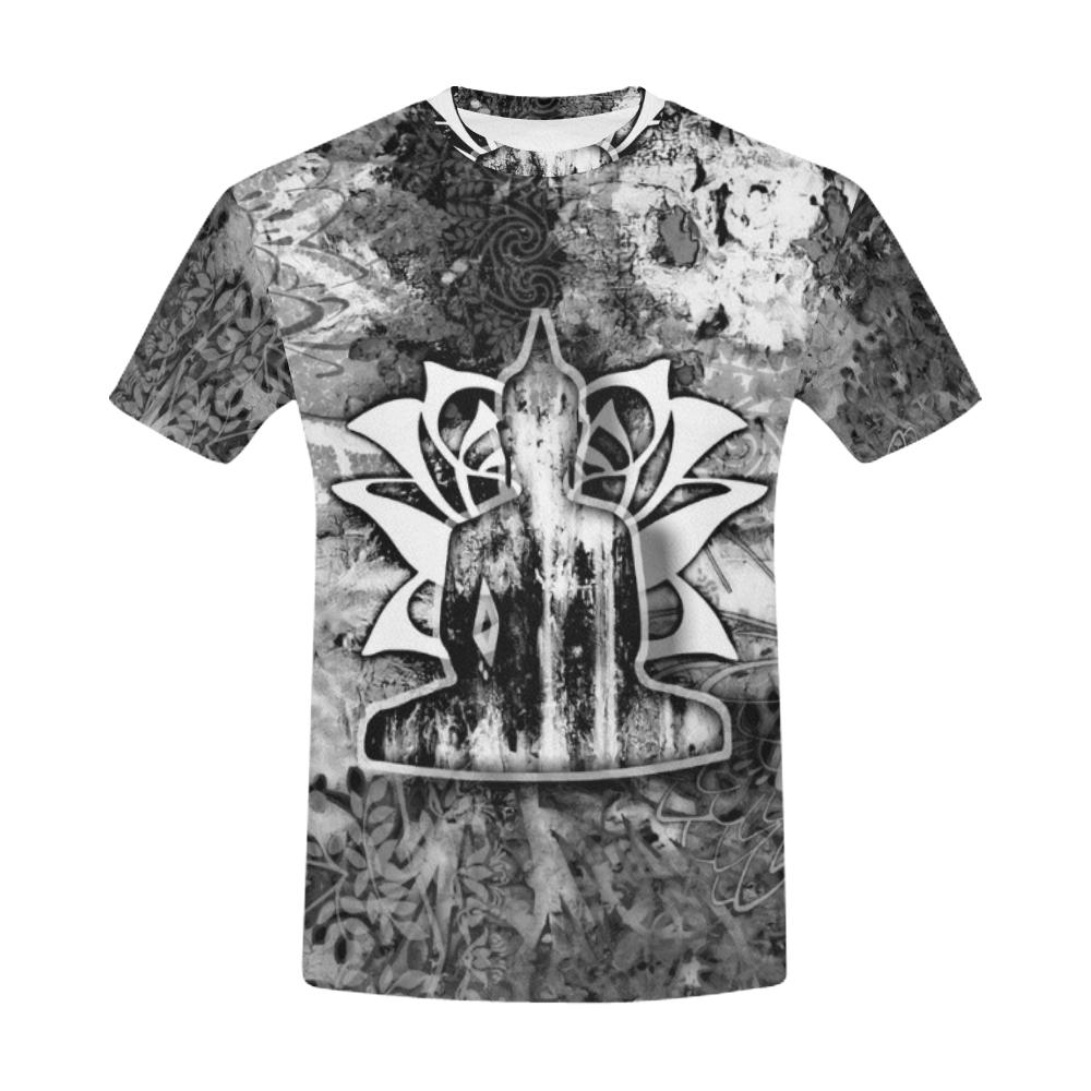Lotus Black and White Men's All Over Print T-shirt (USA Size) (Model T40), All-over Shirts - Maui Woke