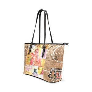 Beige Ganesha Leather Tote Bag - Maui Woke