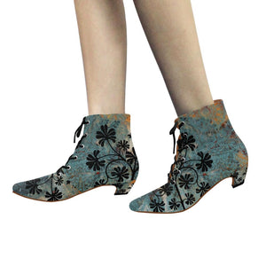 Boho Blue Chic Low Heel Lace Up Ankle High Boots - Maui Woke