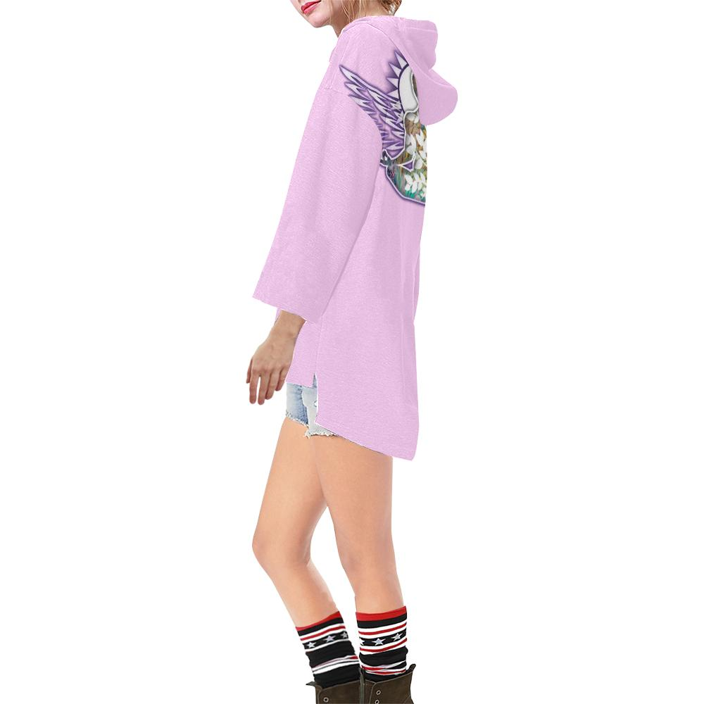 Lotus Light Pink V-neck Step Hem Tunic Hoodie - Maui Woke