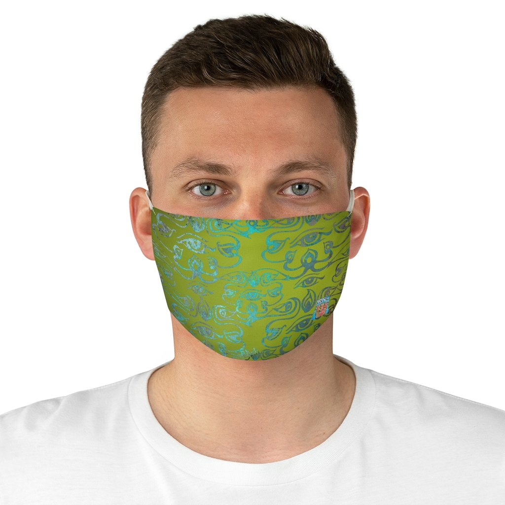 male front view 3rd Eye -Green Fabric Face Mask