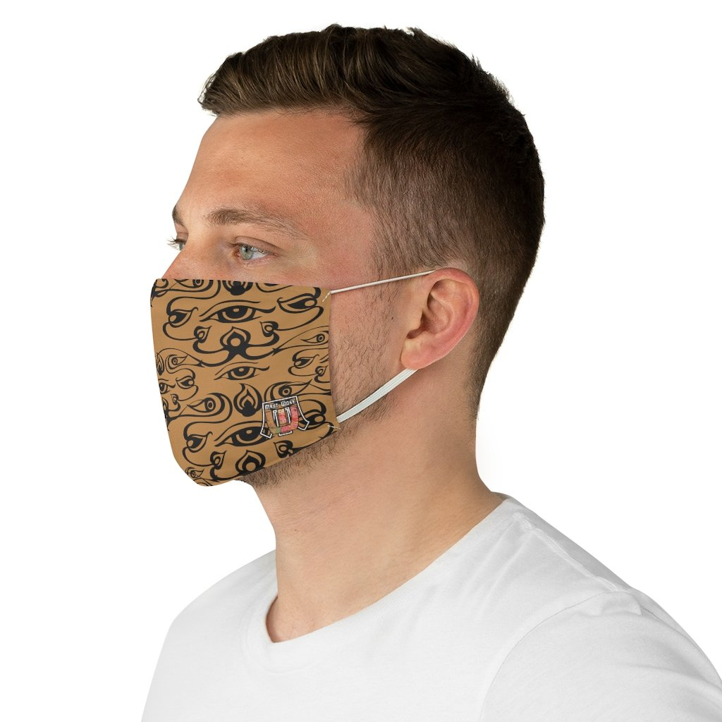 side view3rd Eye - Brown Fabric Face Mask