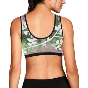 Pink Lotus Black Trim Sports Bra - Maui Woke