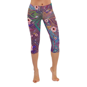 Sacred Geometry Flowers Multi-colored Low Rise Capri Leggings - Maui Woke