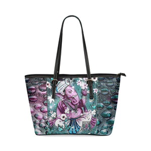 Purple Ganesha Leather Tote Bag - Maui Woke