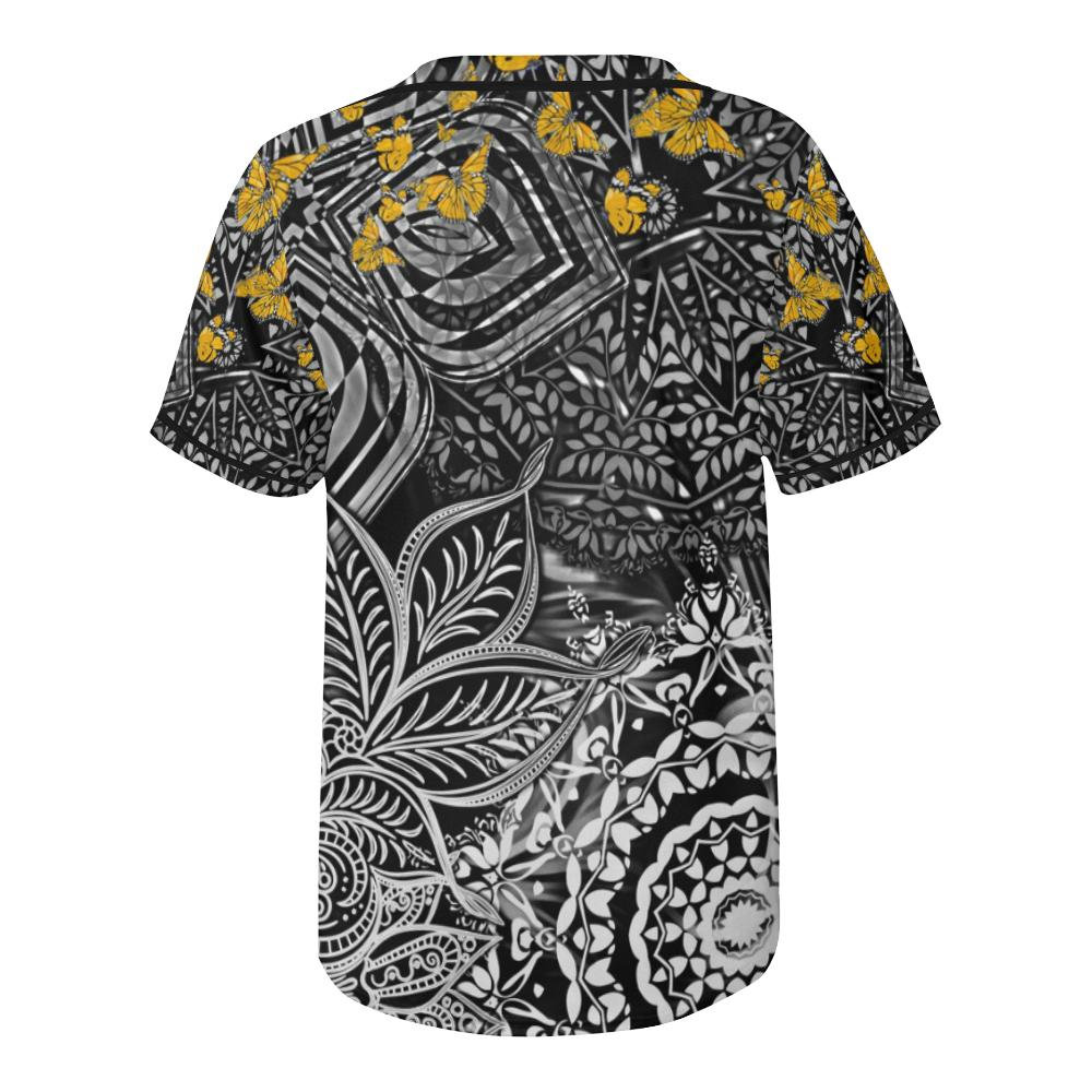 Sacred Geometry Yellow Butterflies Baseball Jersey - Maui Woke