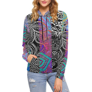 Sacred Geometry Multi Color Women's All Over Print Hoodie - Maui Woke