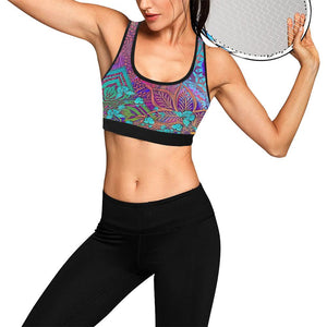 Sacred Geometry Multi-colored Black Trim Sports Bra - Maui Woke