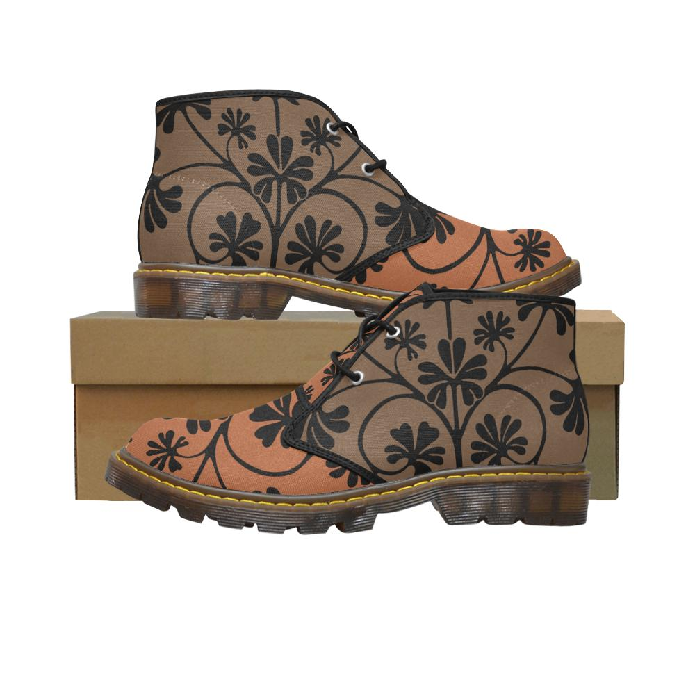 Brown Funky Flower Canvas Chukka Boots