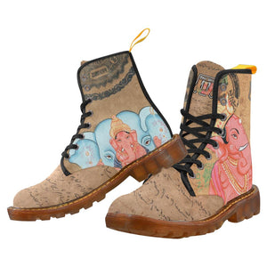 Beige Ganesha Lace Up Canvas Boots - Maui Woke