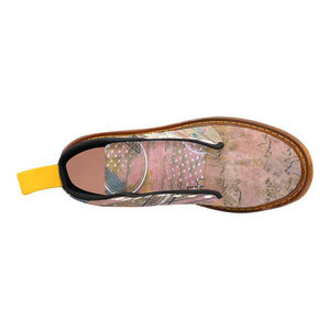 Light Pink Ganesha Lace Up Canvas Boots - Maui Woke