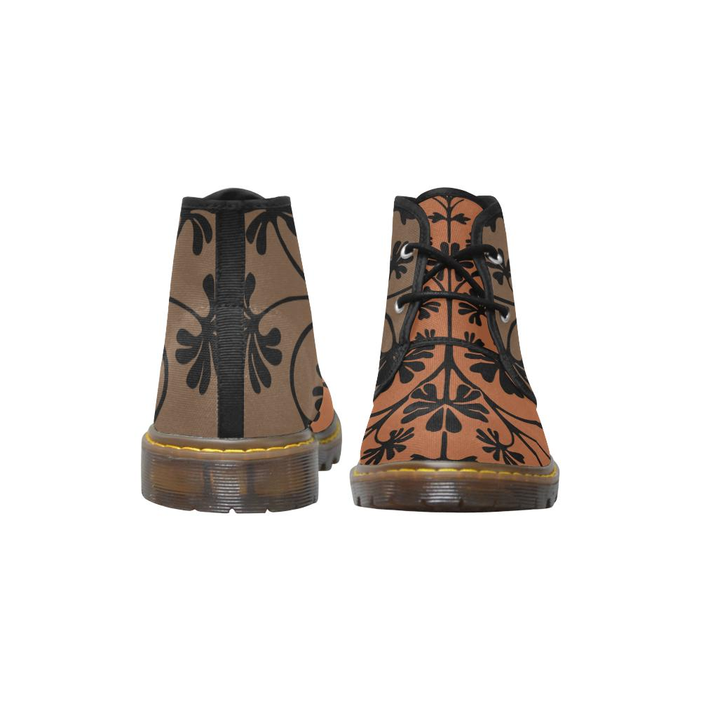 Brown Funky Flower Canvas Chukka Boots - Maui Woke