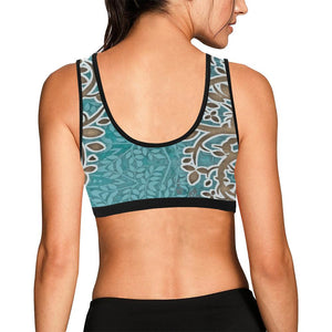 Boho Blue Black Trim Sports Bra - Maui Woke