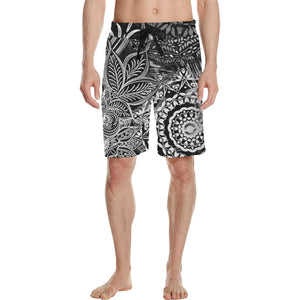 Sacred Geometry Black/White Casual Boardshorts - Maui Woke