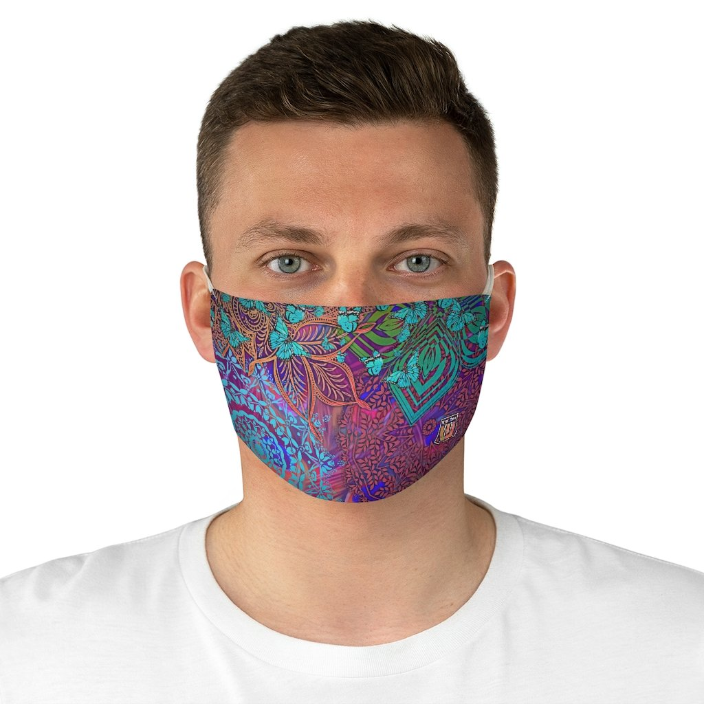 male front Sacred Geometry Inspired-Colorful Butterfly Fabric Face Mask