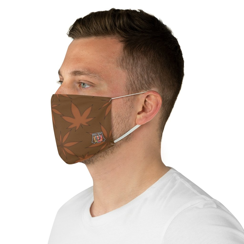 male side Marijuana Leaf-Brown Fabric Face Mask