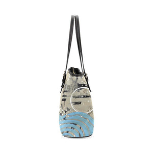 Boho Blue Wave Leather Tote Bag - Maui Woke