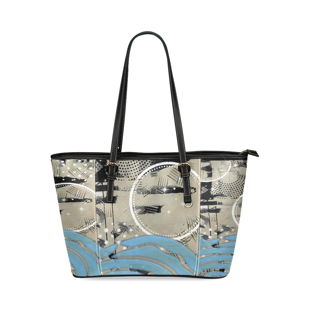 Boho Blue Wave Leather Tote Bag-SHD|Maui Woke, Bohemian design - Maui Woke