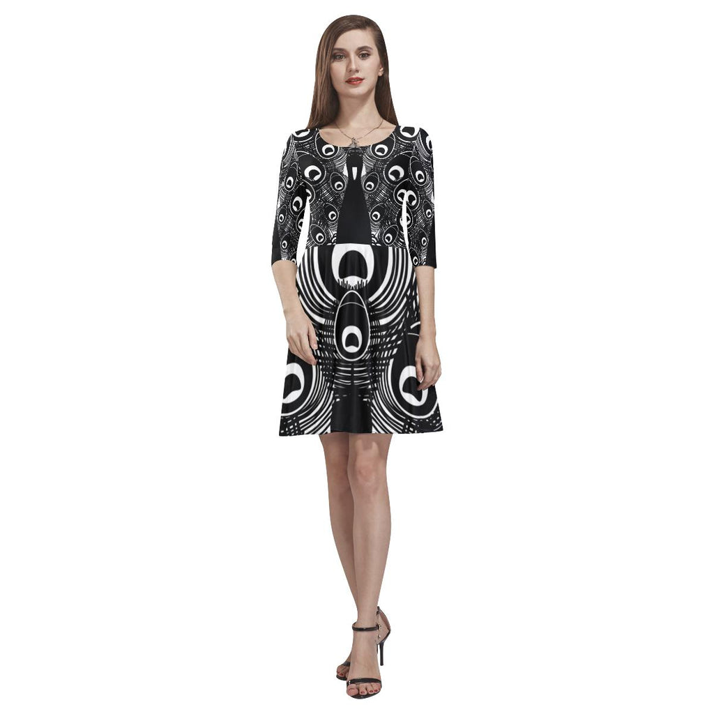 Black/White Peacock Half-Sleeve Skater Dress - Maui Woke