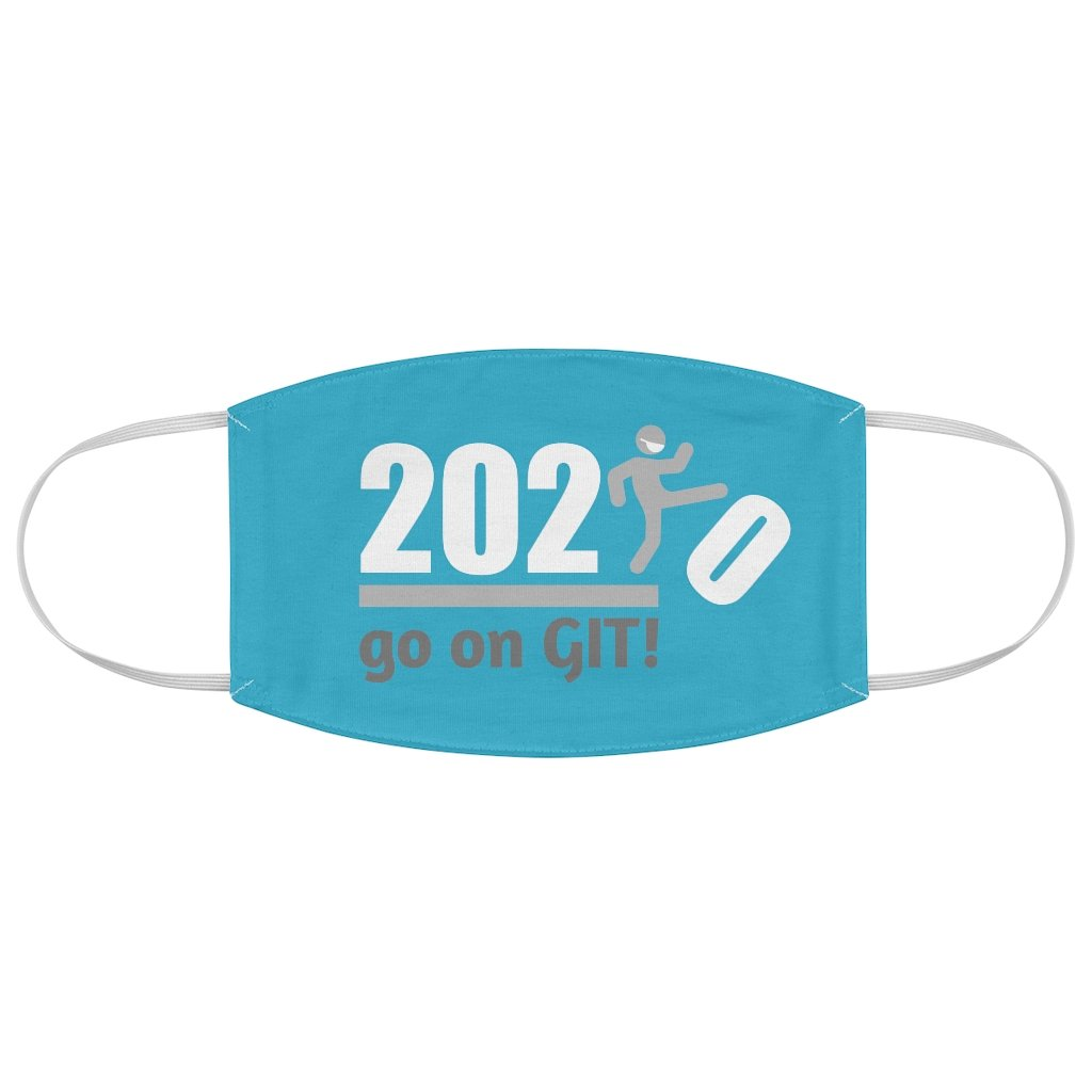 Go On GIT! 2020 • Kick • White and Gray • Blue Fabric Face Mask - Maui Woke