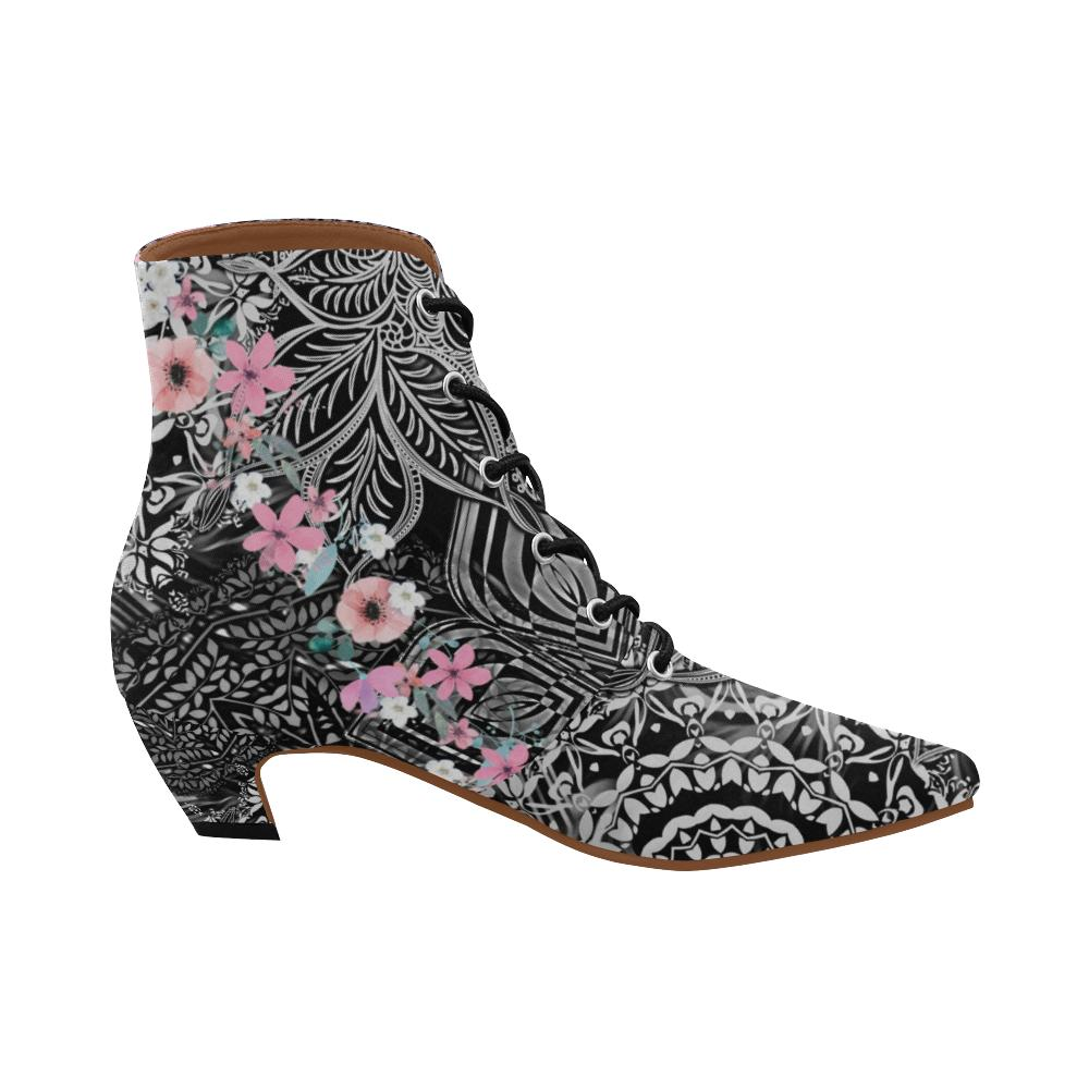 Sacred Geometry Pink Flowers Chic Low Heel Ankle High Boots - Maui Woke