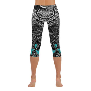Sacred Geometry Tantric Blue Butterfly Low Rise Capri Leggings - Maui Woke