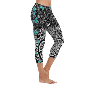 Sacred Geometry Blue Butterfly Low Rise Capri Leggings - Maui Woke