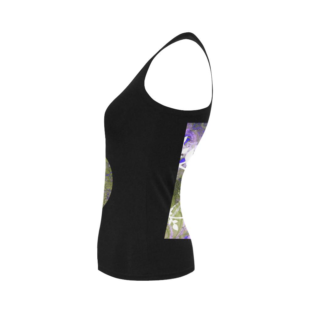 Lotus Blue Women's Shoulder-Free Tank Top (Model T35), Tank Tops - Maui Woke