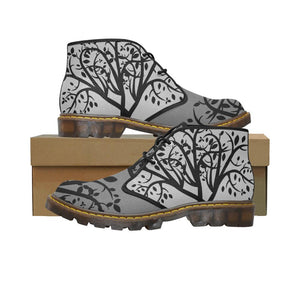Tree Of Life Grey Two Tone Men's Canvas Chukka Boots-SHD|Maui Woke, SHD-Men's Shoes - Maui Woke