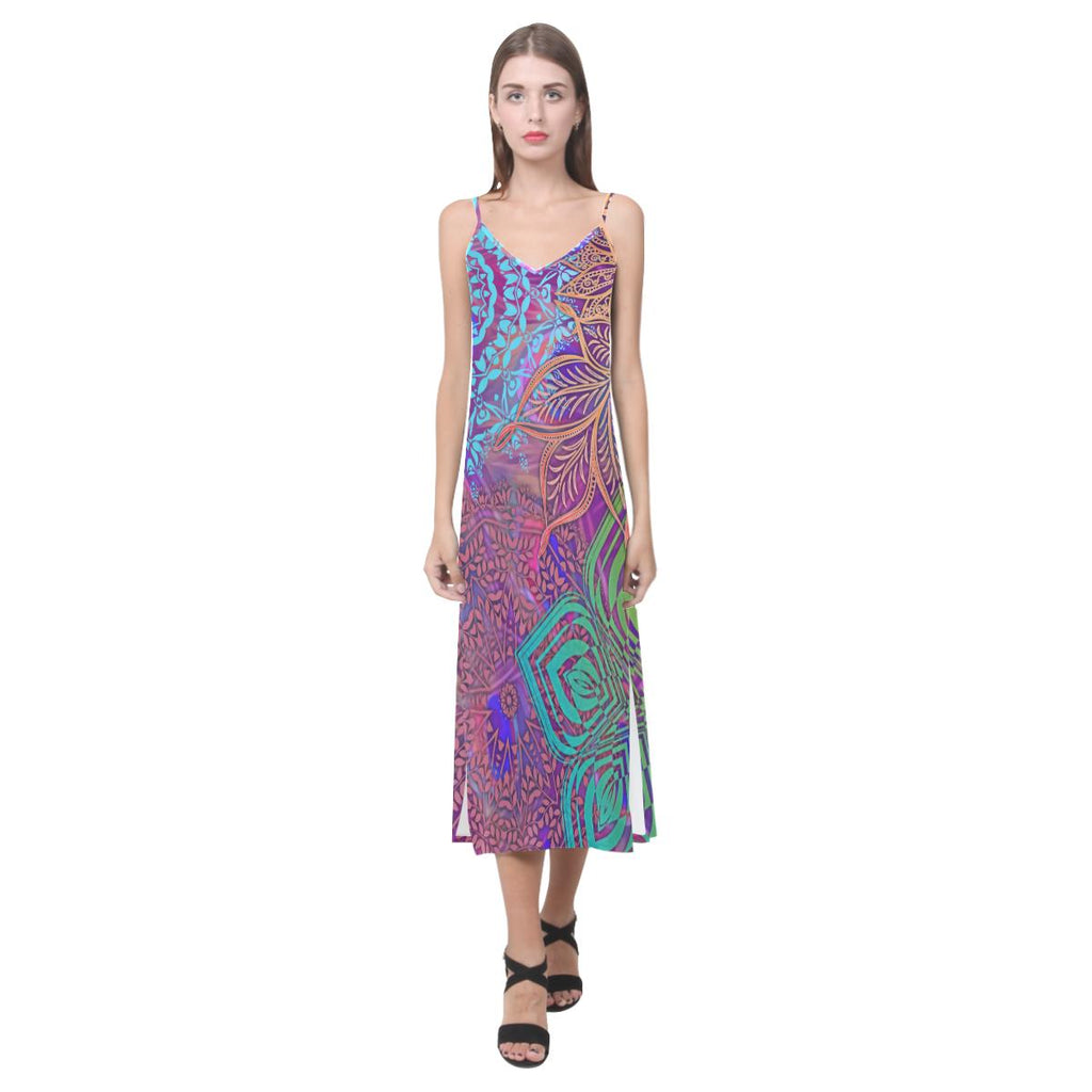 Sacred Geometry Colorful V-Neck Open Fork Long Dress - Maui Woke