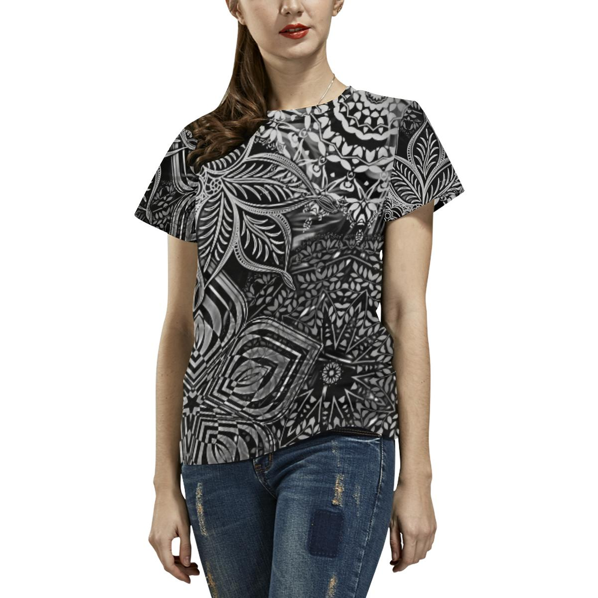 Sacred Geometry Black and White All Over Print T-shirt - Maui Woke