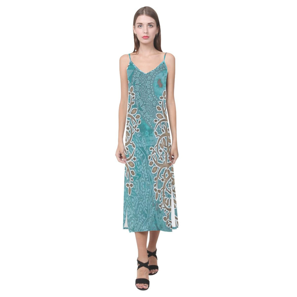 Boho Blue V-Neck Open Fork Long Dress - Maui Woke