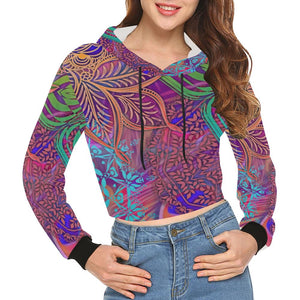 Sacred Geometry Women's All Over Print Cropped Hoodie (Model H22), All-over Hoodies - Maui Woke